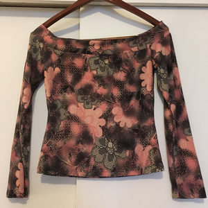 Gray and Pink Floral Blouse with 3/4 sleeves